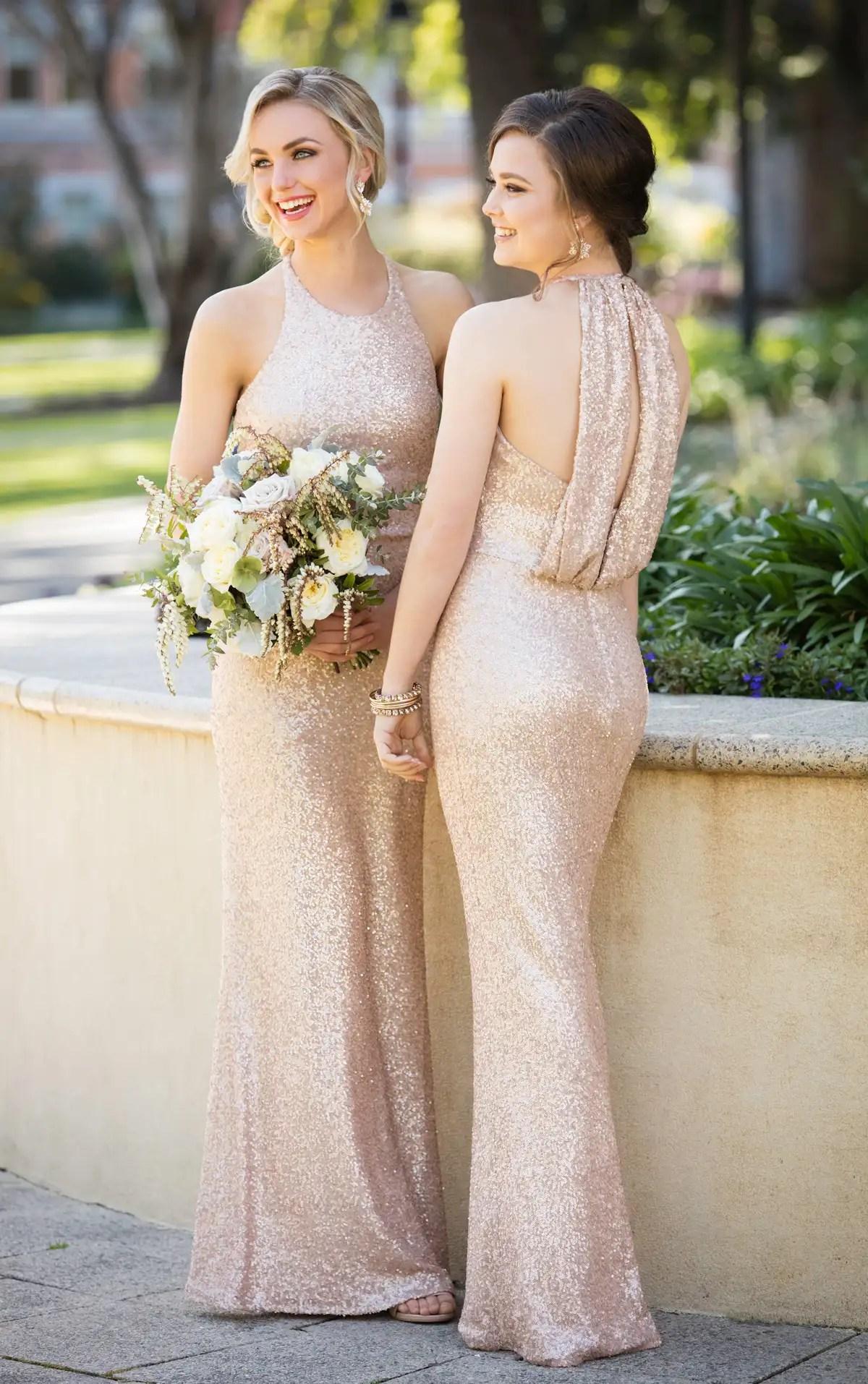 Bridesmaid Dresses  HighNeck Sequin Bridesmaid Gown  Sorella Vita