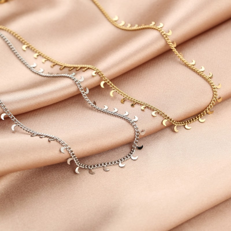 Necklaces moons silver and gold