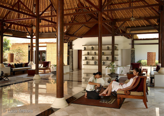 Welcome Spa Treatment upon guest's arrival at the Spa Village Resort in Tembok, Bali, Indonesia