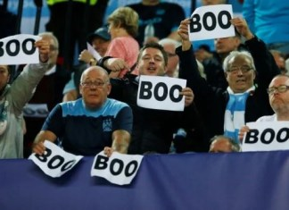 Man City fans boo UEFA anthem