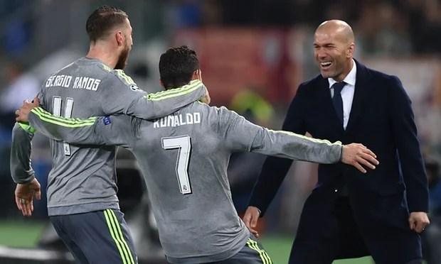 Zinedine Zidane, Cristiano Ronaldo and Sergio Ramos