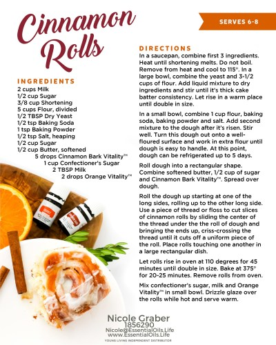 cinnamon rolls recipe featuring cinnamon and orange vitality