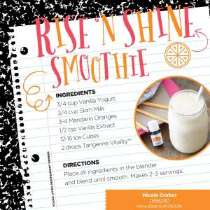 RiseNShine Smoothie Recipe featuring tangerine vitality essential oil for an extra kick of flavor