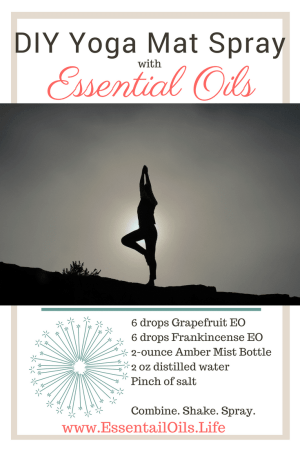 Cleanse your yoga mat with this nontoxic DIY Yoga Mat Spray recipe featuring grapefruit and frankincense essential oils