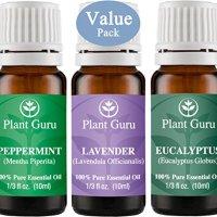 Plant Guru Beginner's Trio Essential Oil Set. 100% Pure Therapeutic Grade 10ml. Set Includes: Eucalyptus, Lavender, Peppermint.