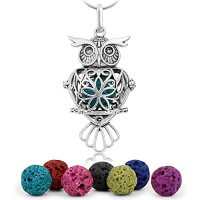 """Maromalife Premium Owl Lava Stone Aromatherapy Essential Oil Diffuser Necklace Locket Pendant Gift Set with 24"""" Chain and Multi-Colored Beads"""