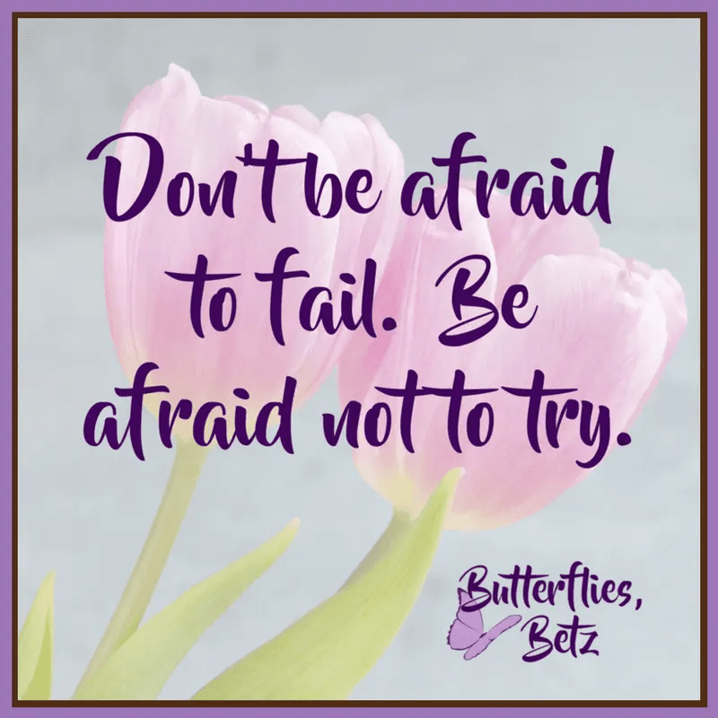 Quote: Don't be afraid to fail. Be afraid not to try.