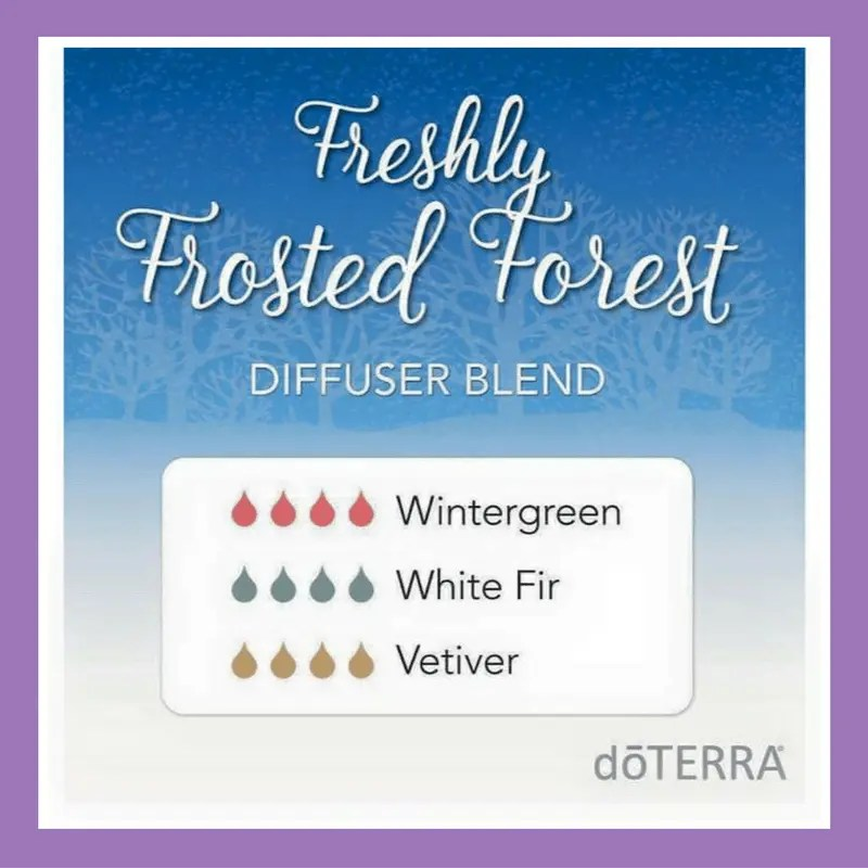27 doTERRA diffuser blends | Freshly Frosted Forest - 4 drops Wintergreen 4 drops White Fir (replace with Siberian Fir) 4 drops Vetiver