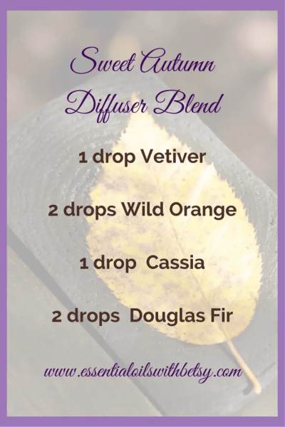 Sweet Autumn Diffuser Blend In your favorite doTERRA essential oil diffuser , blend together the following essential oils. 1 drop Vetiver 2 drops Wild Orange 1 drop Cassia 2 drops Douglas Fir
