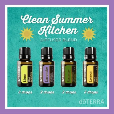 27 doTERRA diffuser blends |Clean Summer Kitchen 3 drops Lime 2 drops Lavender 2 drops Rosemary 3 drops Lemon