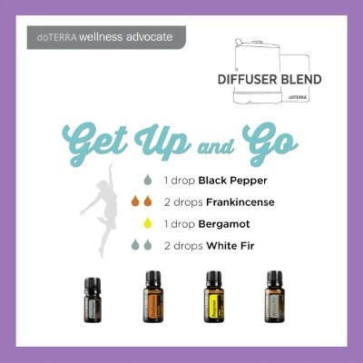 Get Up and Go 1 drop Black Pepper 2 drops Frankincense 1 drop Bergamot 2 drops White Fir (replace White Fir with Siberian Fir) | 27 doTERRA diffuser blends
