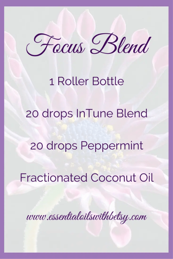 Next, I am going to share my own recipe. I have a personal favorite DIY blend that I enjoy. I wear this blend when I'm on coaching calls when I need to alert and take lots of notes! I also rub this focus & learning roller bottle blend on the back of my neck to be on the top of my game before teaching an essential oil class. I feel sharp and focused when I'm using this blend. It has never failed me! Here's the secret sauce. 1 roller bottle (affiliate link) 20 drops InTune Essential Oil Blend 20 drops Peppermint Fractionated Coconut Oil
