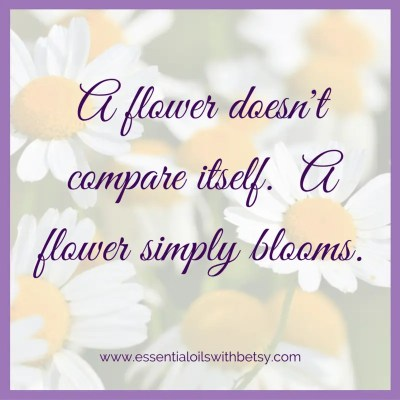A flower doesn't compare itself. A flower simply blooms.