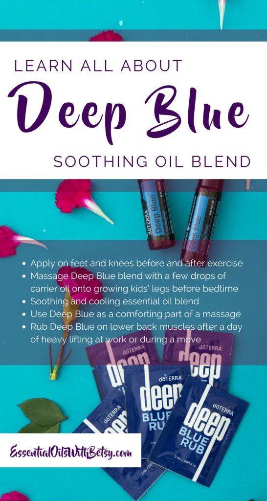 Learn all about Deep Blue Soothing Oil Blend | doTERRA Suggested Uses The following are usage suggestions from doTERRA. Which way would you most enjoy using Deep Blue essential oil blend? Apply on feet and knees before and after exercise. Massage Deep Blue blend with a few drops of carrier oil onto growing kids' legs before bedtime. Alternately, use the Deep Blue TOUCH roller! Soothing and cooling oil blend Use doTERRA Deep Blue as a comforting part of a massage. Rub Deep Blue on lower back muscles after a day of heavy lifting at work or during a move.
