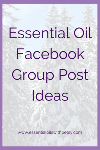 "Essential Oil Facebook Group Post Ideas Have you ever wondered ""What should I post in my essential oil Facebook group today?"" You're not alone! Until I figured out a rhythm with my essential oil Facebook group post ideas, I often wondered the same thing! This blog post will outline a few examples of the types of posts which have gone over well in my own essential oil group. Join me to see my essential oil facebook group post ideas in action! Essential Oil Facebook Group Post Ideas For Engagement The key to good Facebook group engagement is simple. Ask questions. You should be asking a question with every single post. You want to encourage conversations. This builds your engagement and community."