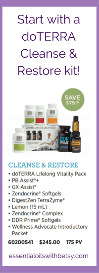Products included in doTERRA Cleanse Restore Kit The doTERRA Cleanse and Restore kit includes doTERRA Lifelong Vitality Pack, Zendocrine Softgels, Zendocrine Complex, DigestZen TerraZyme, GX Assist, PB Assist+, DDR Prime Softgels, Lemon essential oil, Wellness Advocate Introductory Packet How Much Does doTERRA Cleanse Restore Kit Cost? A doTERRA Cleanse Restore kit only costs $245.00! This is a saving of $79.05 AND includes a year's membership ($35 value!). Continue to enjoy 25% savings on everything you buy from doTERRA.