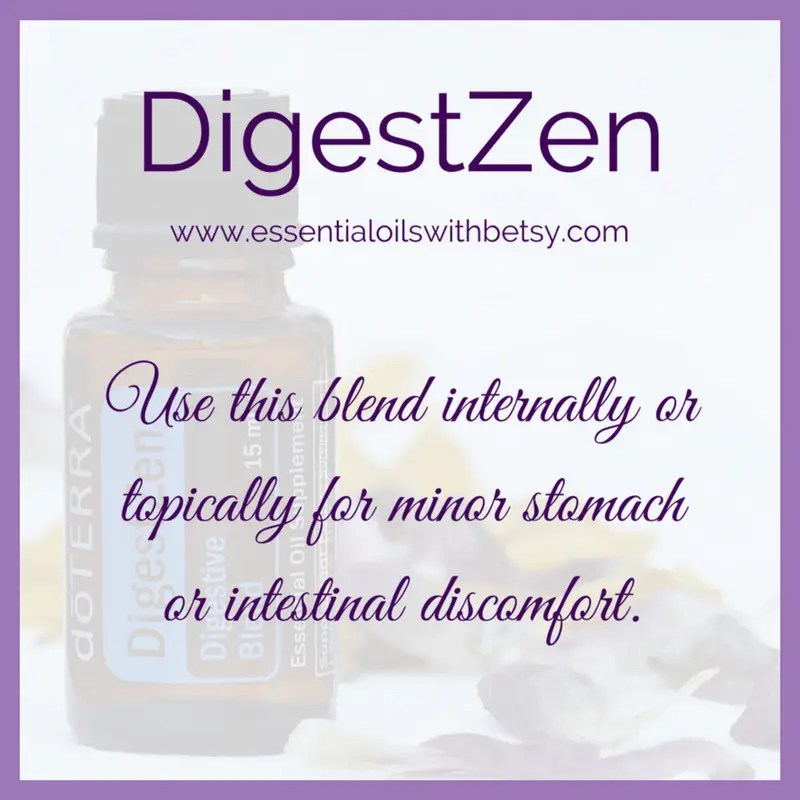 doTERRA DigestZen Use this blend internally or topically for minor stomach or intestinal discomfort.