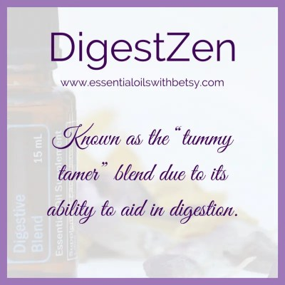 "doTERRA DigestZen: Known as the ""tummer tamer"" blend due to its ability to aid in digestion."