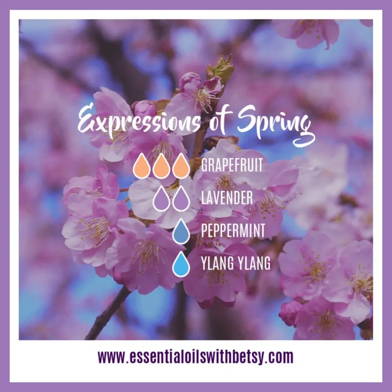 Expressions Of Spring Diffuser Blend 3 drops of doTERRA Grapefruit essential oil 2 drops of Lavender 1 drop of Peppermint 1 drop of Ylang Ylang