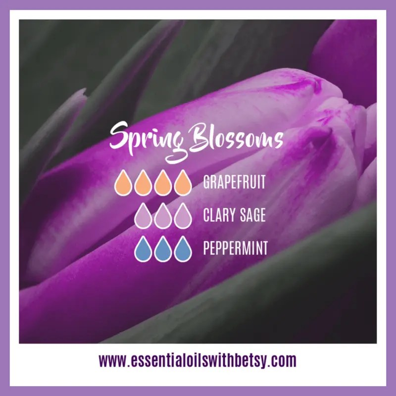 Spring Blossoms Diffuser Blend 4 drops of doTERRA Grapefruit essential oil 3 drops of Clary Sage 3 drops of Peppermint