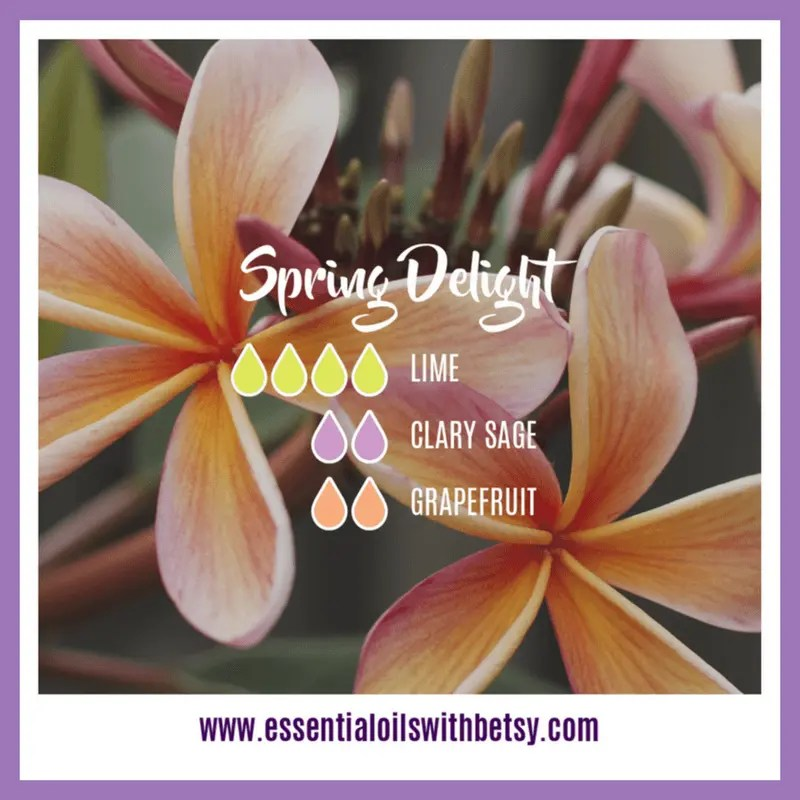 Spring Delight Diffuser Blend 4 drops of doTERRA Lime essential oil 2 drops of Clary Sage 2 drops of doTERRA Grapefruit essential oil