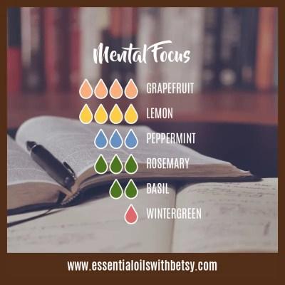 Diffuser Blend For Mental Focus: Grapefruit, Lemon, Peppermint, Rosemary, Basil, Wintergreen