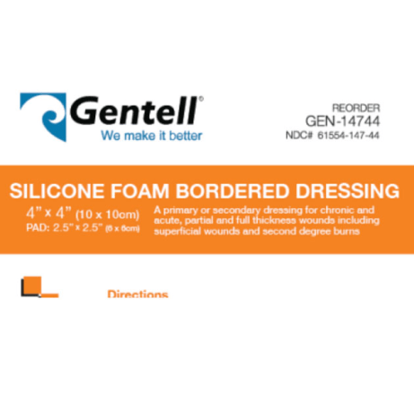 4″x4″ Silicone Foam Dressing, BOX OF 10