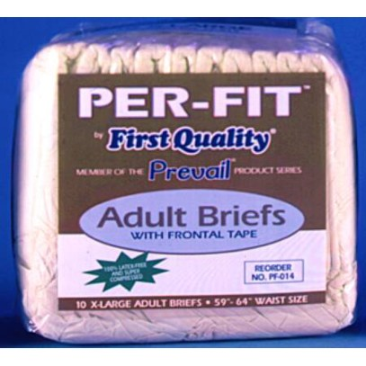 Per-Fit Prevail Adult Fitted Brief Diaper, Extra-Large,59″-64″,CASE OF 60