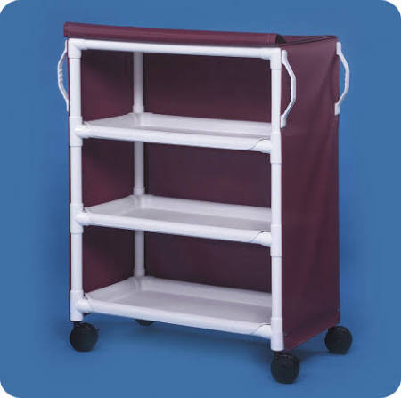 Innovative Products Unlimited PVC Deluxe Linen Cart With 3 Shelves, 48″ High