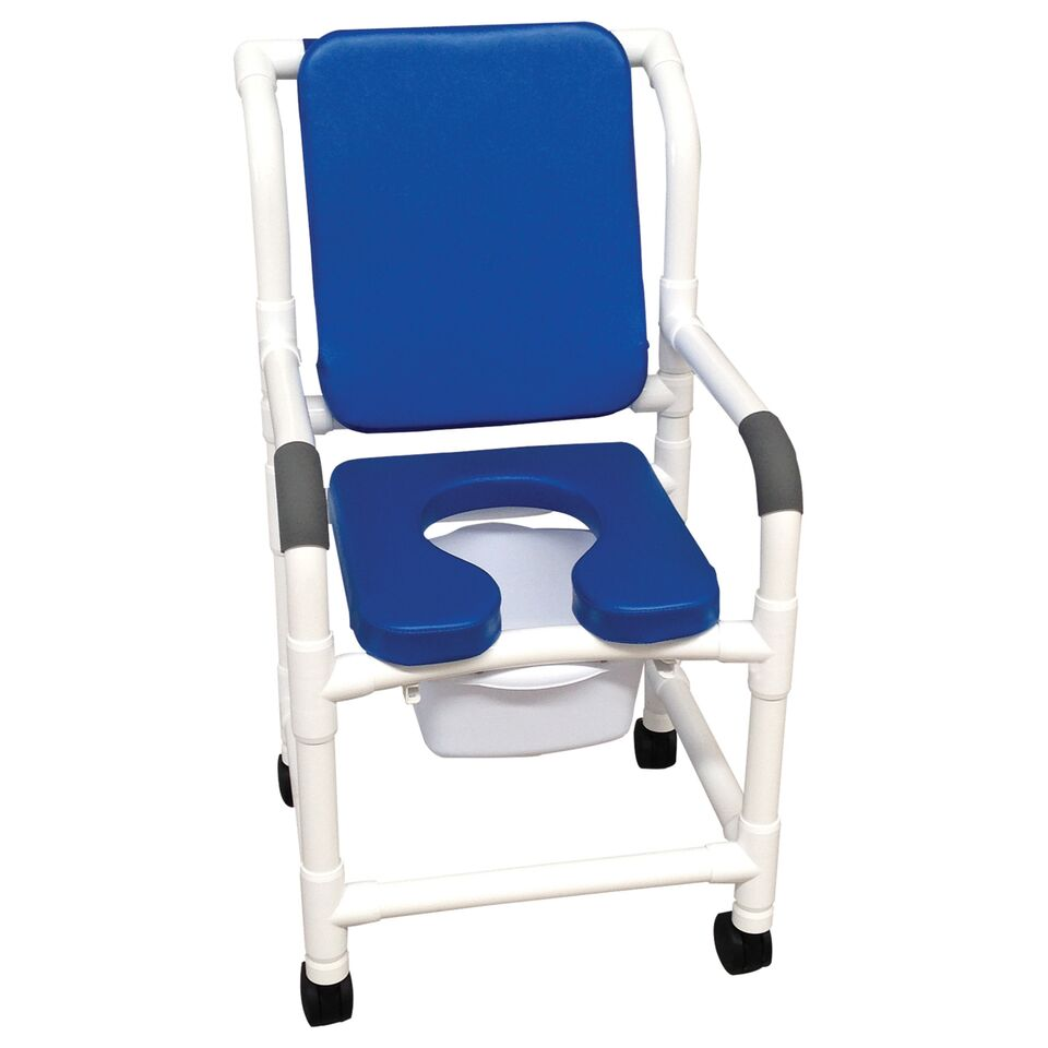 18″ Shower Chair W/ Deluxe Elongated Open Front Soft Seat, Blue