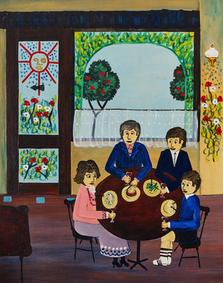 Ivan Durrant, The Mora Family, 1969, 71 x 94cm, acrylic on board