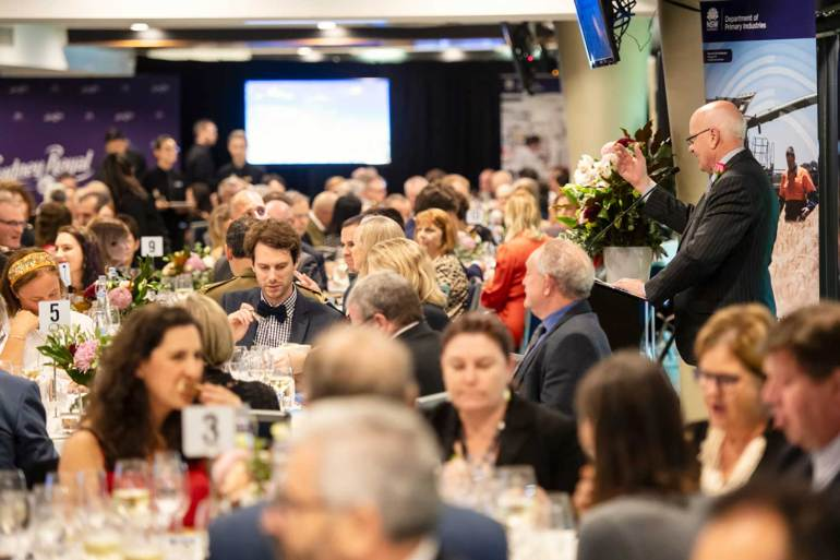 Guests seated for the Royal Agricultural Society of NSW President's Medal presentation dinner.