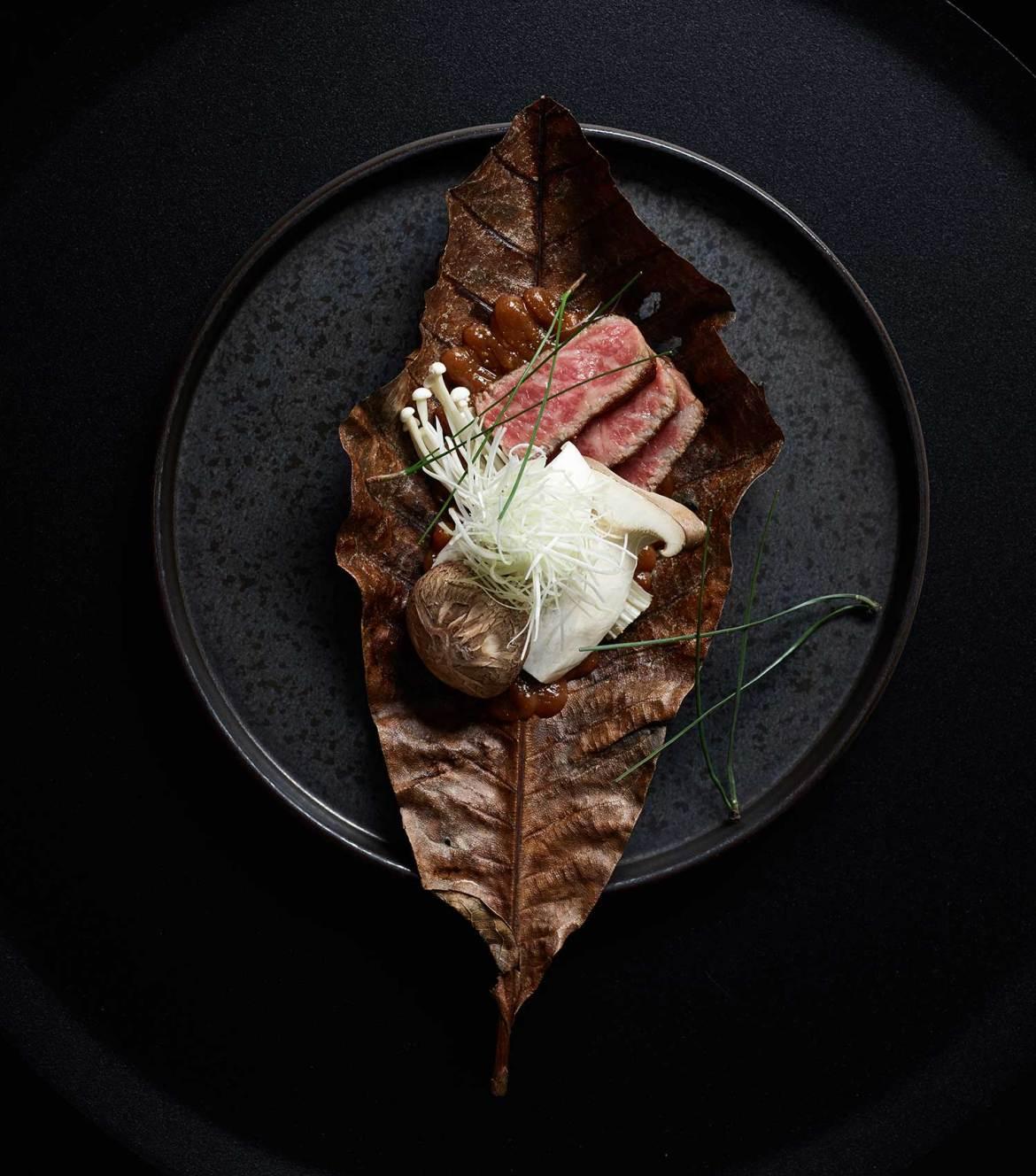 Ishizuka Melbourne - Daimono, - Grilled Kagoshima A5 Wagyu, hoba miso, grilled mushrooms