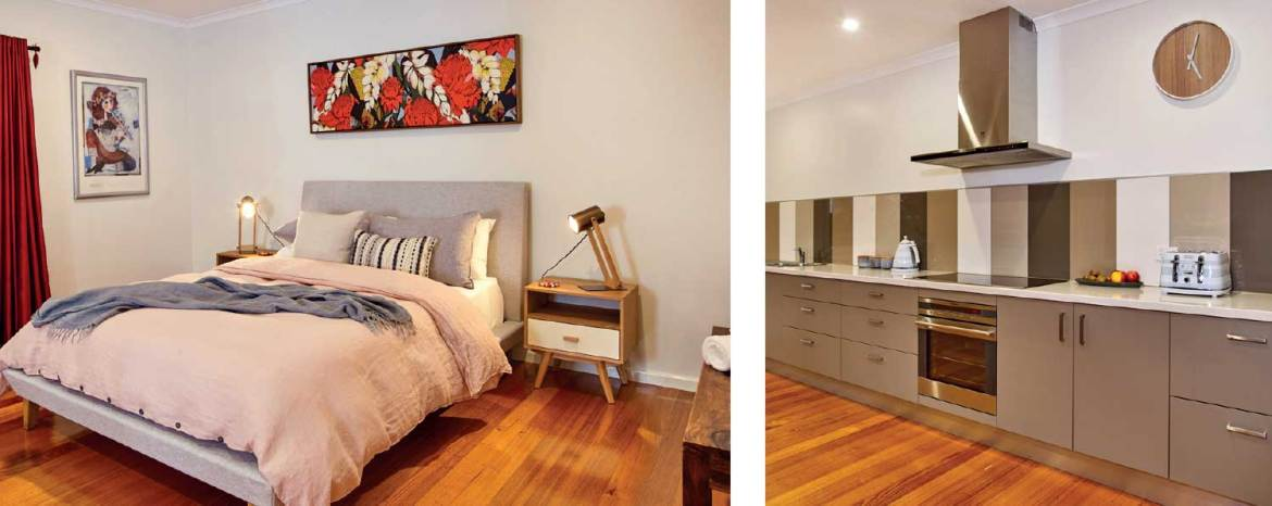 Northbank House's Queen master bedroom; the large kitchen is built for entertaining