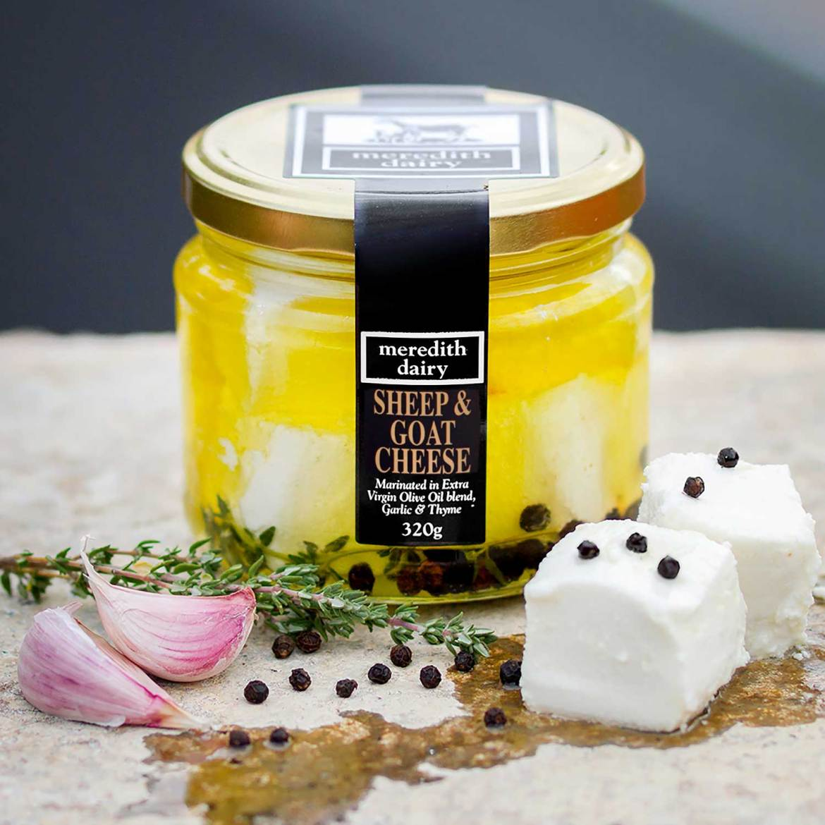 Meredith Dairy, Marinated Feta Sheep and Goat Milk Blend.<br /> Champion Fresh - Cheese &amp; Dairy