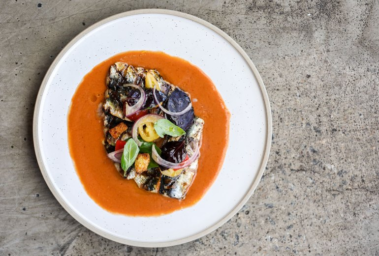 Grilled Sardines Fillets with gazpacho salad