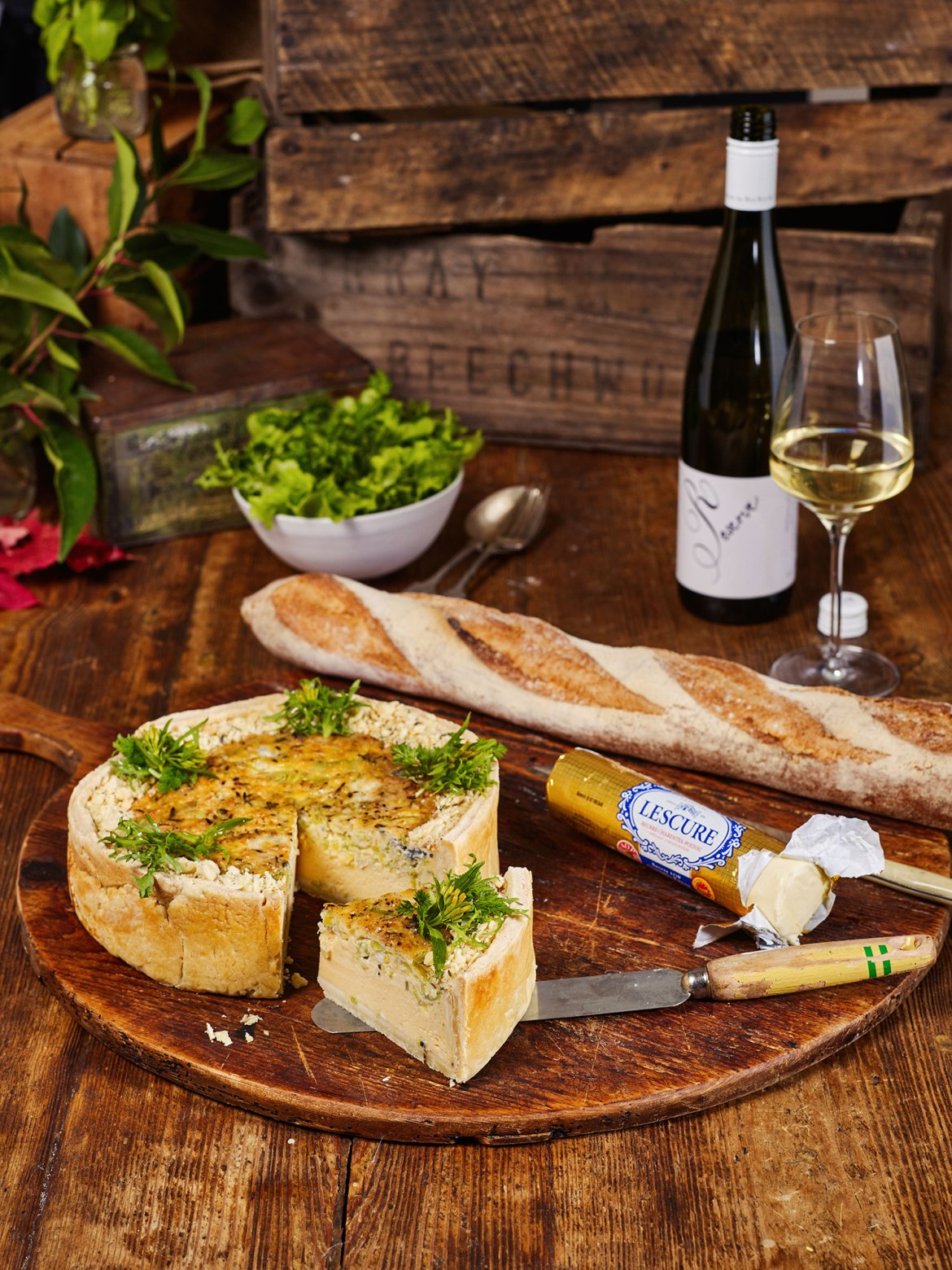 Blue Cheese and Leek Quiche, served wit Rose Ritchie Reserve Gewürztraminer
