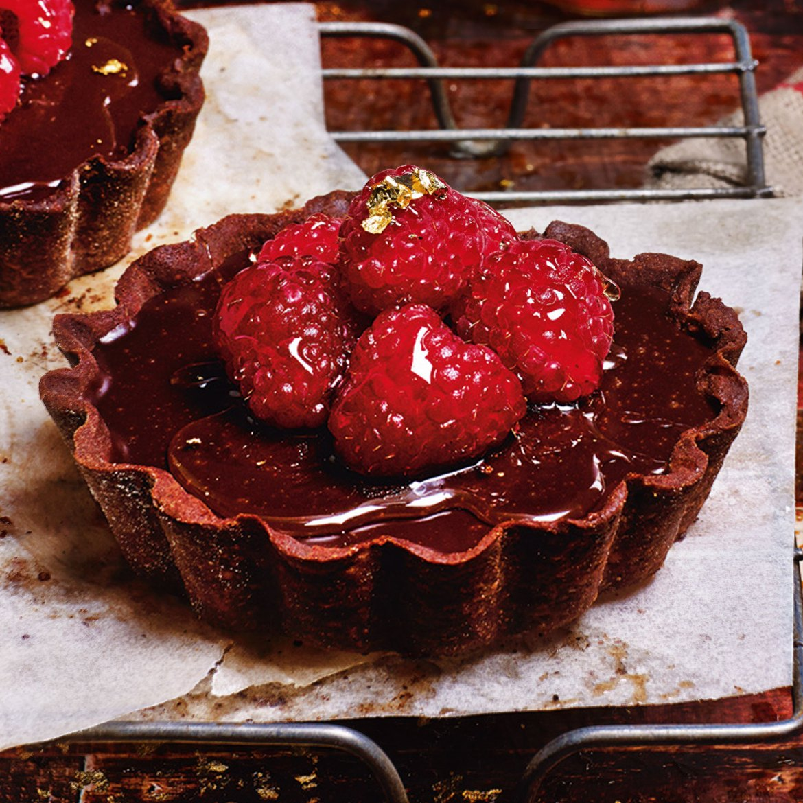 Chocolate Tarts with Raspberries and Muscat Syrup