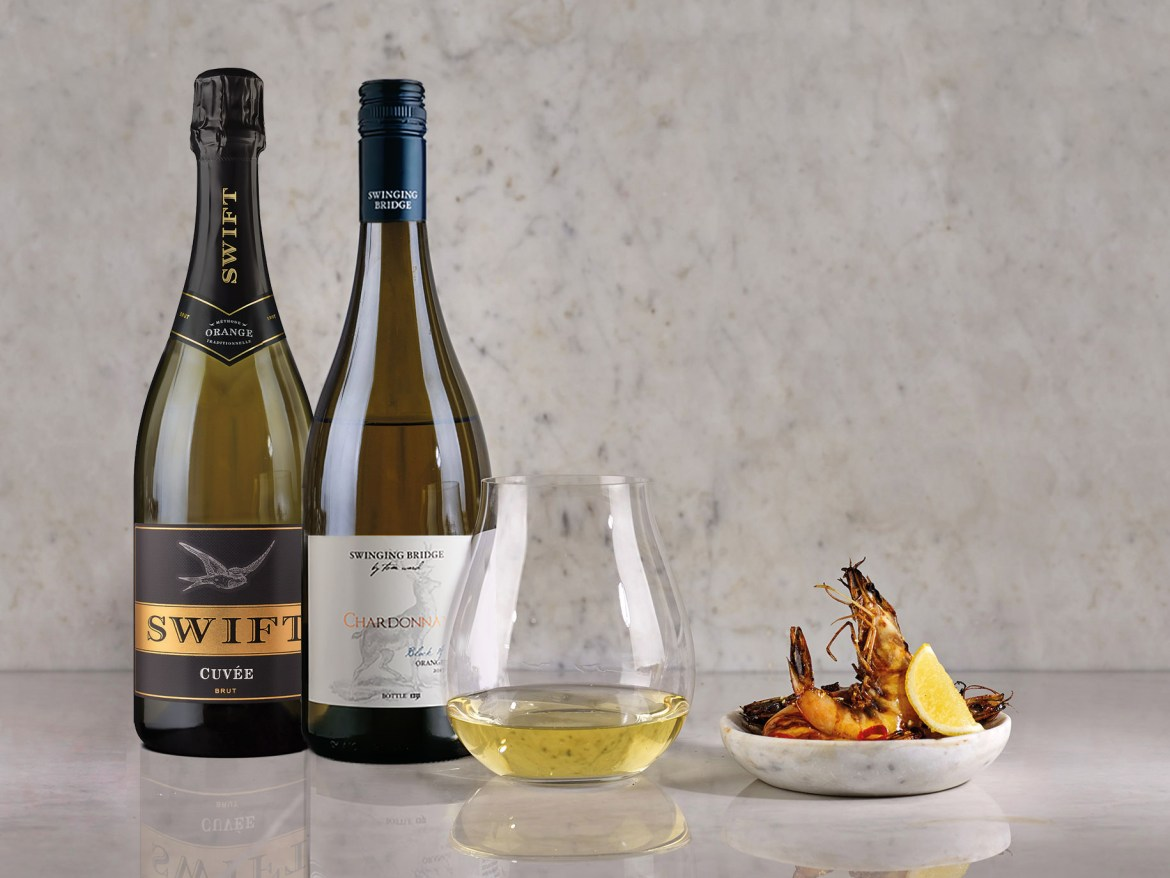 Swift Cuvee NV #7 from Printhie Wines and 2017 Hill Park Chardonnay from Swinging Bridge.