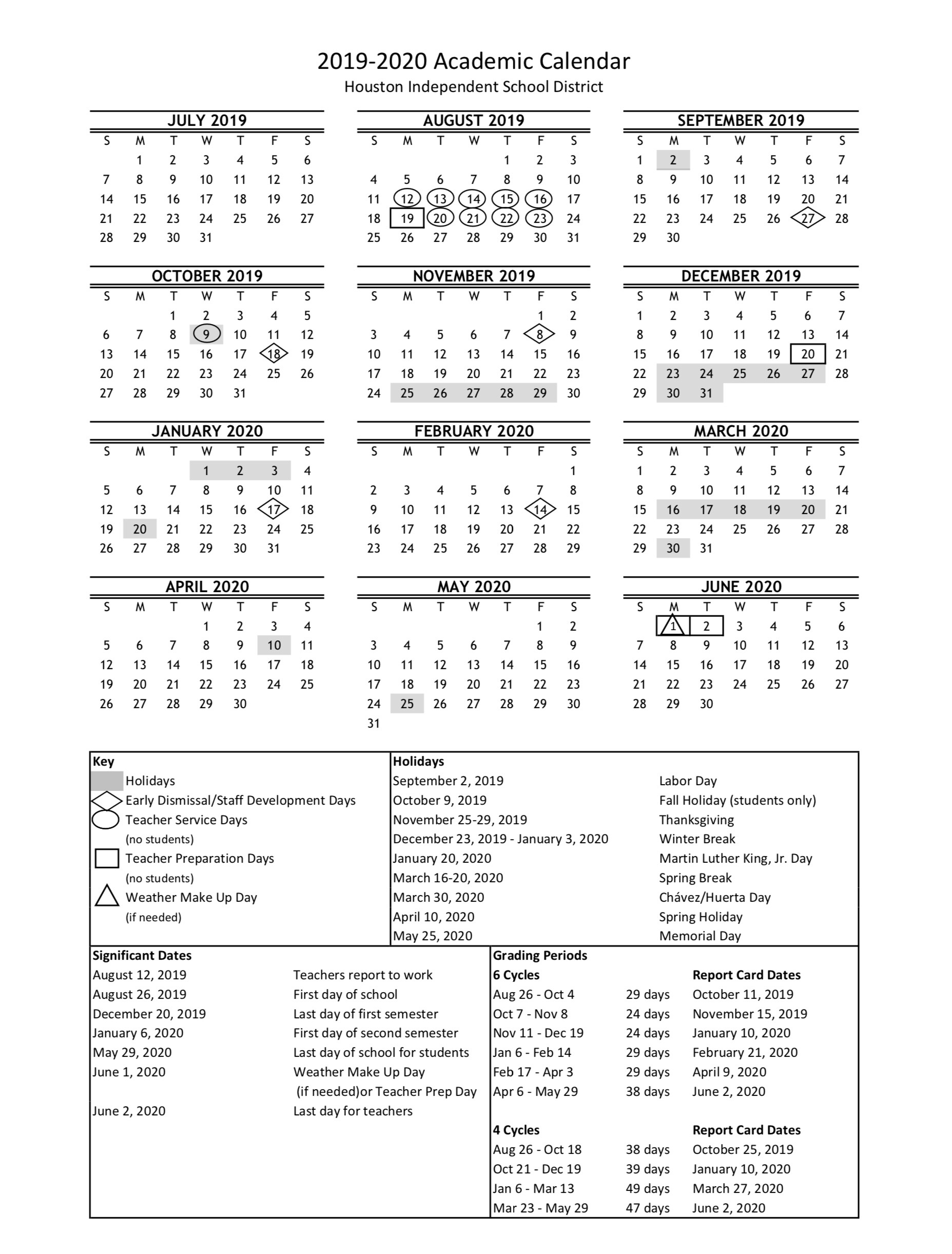 HISD academic calendar for 2019 20 is finalized — with a new