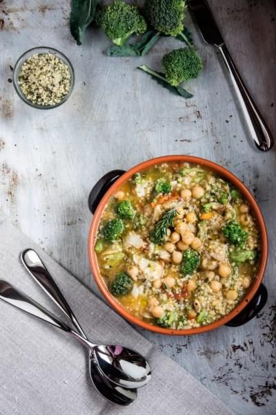 Zuppa con ceci, broccoli, baccalà e miglio