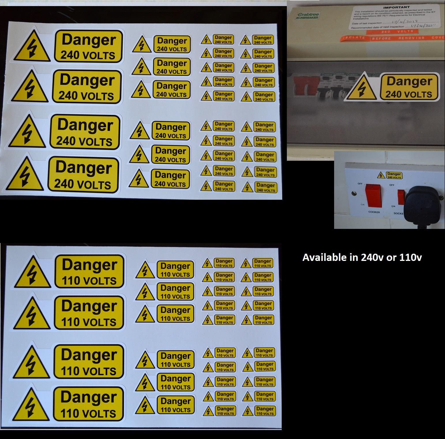 hight resolution of danger 240v or 110v solid vinyl stickers for fuse boxes etc