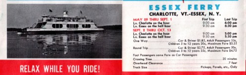 LCT Ferry Brochure 1958 (Essex-Charlotte Crossing Information)