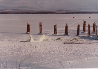 Built out of snow see Champy on rising out of frozen Lake Champlain in Essex Bay. (Credit: William Morgan)