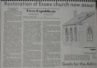 Old Stone Church: 27 June 1983 Press Republican article describing the initial town rehab under Supervisor James Morse (Courtesy Todd Goff)