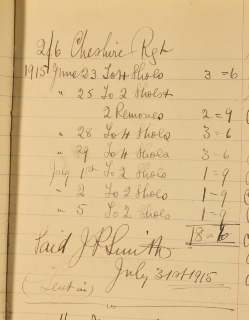 Accounts for the Cheshire Regiment, 1915