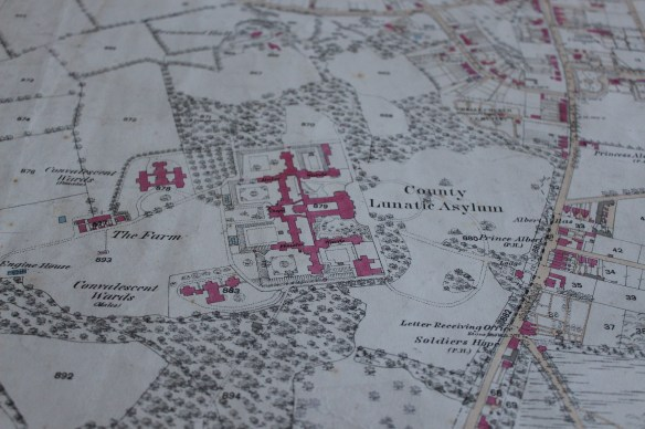 "1st Edn OS Map 25"" showing the County Lunatic Asylum in 1975"