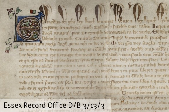 Edward III described as King of England, Lord of Ireland and Duke of Aquitaine in the Maldon Borough charter of 1330 (Eduardus dei Gra[cia[ Rex Angl[orum] Dommus Hibernie Duc Aquit[ane]) (D/B 3/13/3)