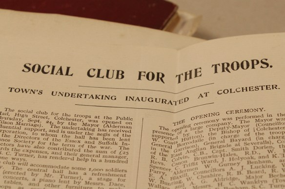 Papers from the Colchester Social Club for the Troops (C948)