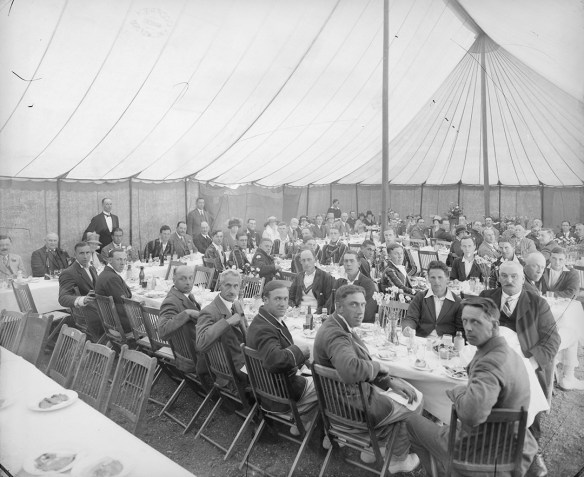 We shouldn't forget the social side of cricket - this meal as part of a game between Essex and Oxford University in 1927 was complete with uniformed servants (D/F 269/1/4744)